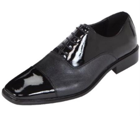 SKU#KA8937 Mens Black Classic Patent Cap-Toe Oxford Dress Shoe