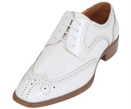 SKU#KA3968 Mens Cream ~ Ivory ~ Off White Classic Smooth Dress Shoe with Wing-Tip and Perforated Detailing $125
