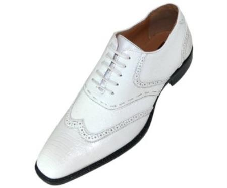 SKU#KA4868 Mens White Classic Smooth Dress Shoe with Wing-Tip and Perforated Detailing $125