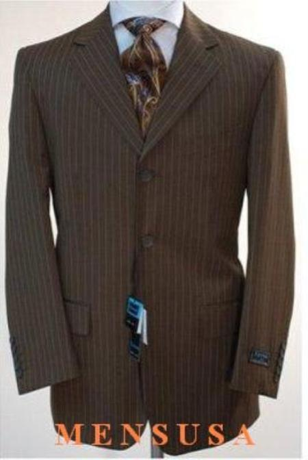 SKU# 663 Chocolate brown pinstripe 3 Button suit 100% Wool Feel Touch Poly Rayon