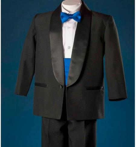 SKU#KA1654 Boys Black 1 Button Shawl Tuxedo With Royal Blue Cummerbund Formal $99