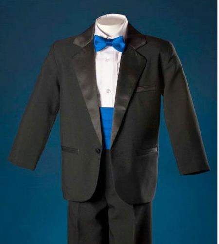SKU#KA3421 Boys Black One Button Notch Tuxedo With Royal Blue Cummerbund Formal Wear $99