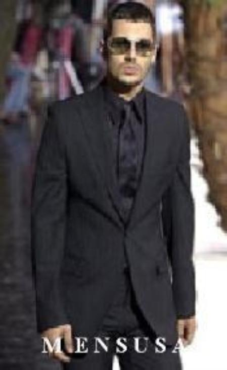 SKU# K7 Cool Light Weight Black Two Button Taper Slim Cut + Black Shirt & Tie As Seen in The Picture $179