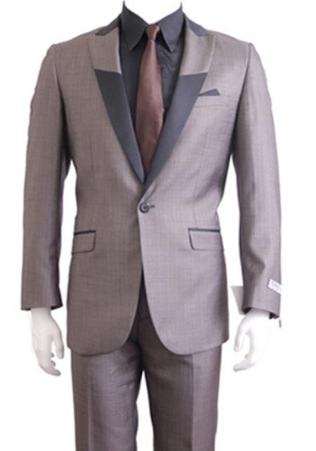 SKU#KA9867 Tapered Leg Lower rise Pants & Get skinny Slim Fit 1 Button Peak Trimmed Lapel + Flat Front Pants Suit or Tuxedo Light Gray $175
