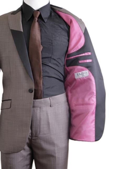 SKU#KA9347 Slim Fit 1 Button Peak Trimmed Lapel + Flat Front Pants Suit or Tuxedo Light Gray $285
