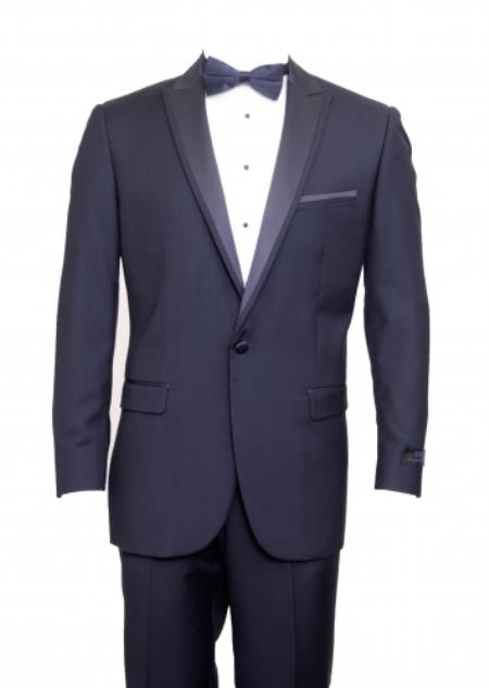 SKU#KA9357 Tapered Leg Lower rise Pants & Get skinny Slim Fit 1 Button Peak Trimmed Lapel + Flat Front Pants Suit or Tuxedo - Navy