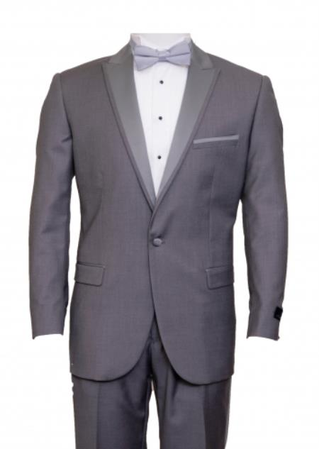 SKU#KA8757 Tapered Leg Lower rise Pants & Get skinny Slim Fit 1 Button Peak Trimmed Lapel + Flat Front Pants Suit or Tuxedo Mid Grey ~ Gray