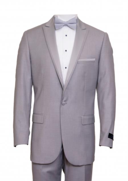 SKU#KA6657 Tapered Leg Lower rise Pants & Get skinny Slim Fit 1 Button Peak Trimmed Lapel + Flat Front Pants Suit or Tuxedo Light Grey ~ Gray