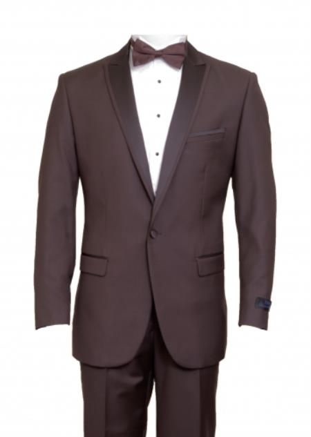 SKU#KA6642 Tapered Leg Lower rise Pants & Get skinny Slim Fit 1 Button Peak Trimmed Lapel + Flat Front Pants Suit or Tuxedo Brown
