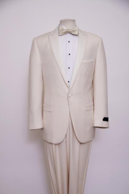SKU#KA6382 Slim Fit 1 Button Peak Trimmed Lapel + Flat Front Pants Suit or Tuxedo Off-White $285