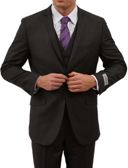 SKU#KA6742 Two Button Three Piece Notch Lapel Euro Slim Fit Suit Tapered pants - Black $175