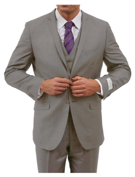 SKU#KA8965 Two Button Three Piece Notch Lapel Euro Slim Fit Suit Tapered pants- Grey $225