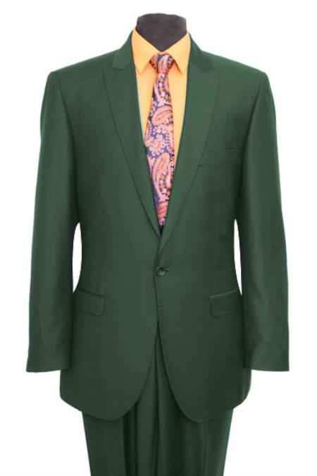 SKE#M211S Slim Fit Peak Lapel Pick Stitched Suit 1 One Button Suit Flat Front Pant Hunter Green $165