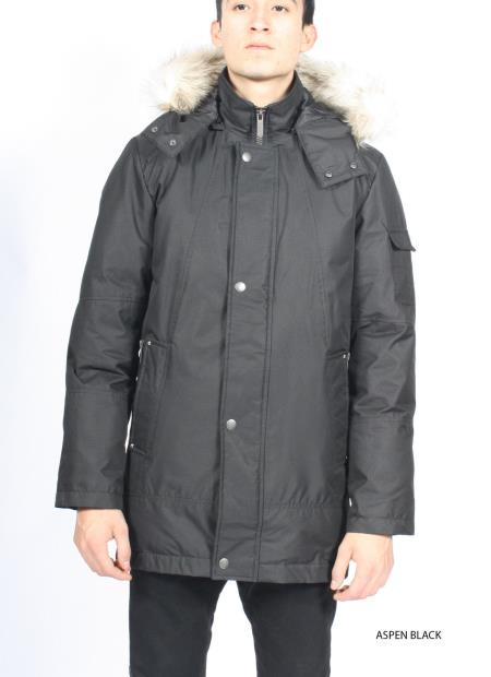 SKE#KA6374 Mens Trench Puffer Faux Fur Hooded Waterproof  Mod Coat Jacket ASPEN BLACK $149