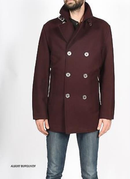 SKU#KA9674 Mens Burgundy ~ Maroon ~ Wine Color Pea Coat Premium Wool Jacket $149