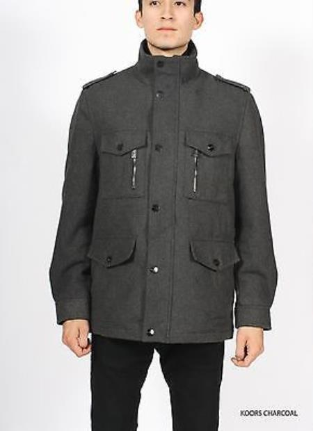 SKU#KA8964 Mens Premium Charcoal Wool Military Coat Jacket $149