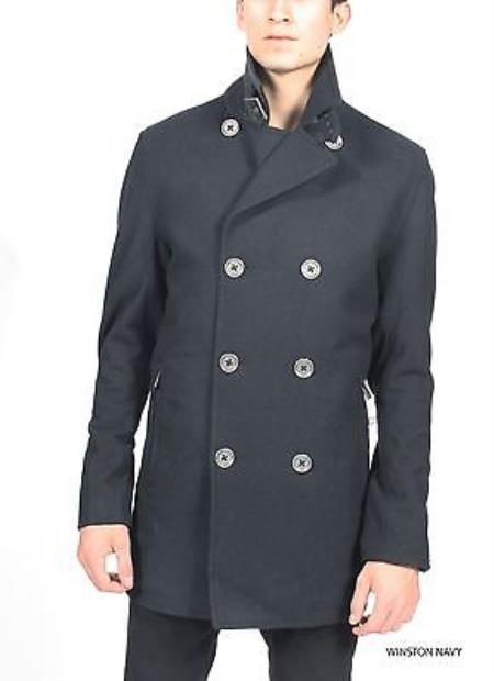 SKU#KA3735 Navy Wool Mod Military British Peacoat P Coat Jacket $149