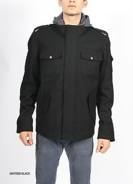SKU#KA4705 Premium Hooded Black Wool Military Mod Coat Jacket $149