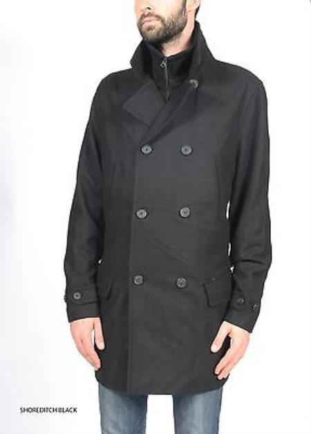 SKU#KA5175 Mens Premium Wool Military Peacoat P Coat Jacket $149