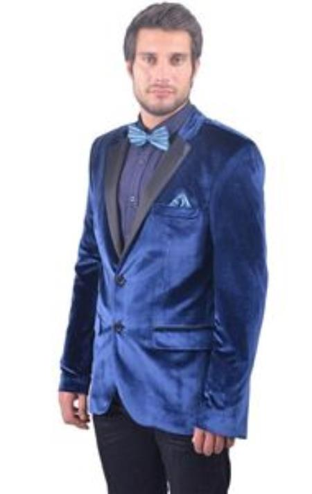 SKU#KA8678 Mens Navy ~ Midnight blue Fitted Velvet Blazer with Tuxedo Satin Lapel