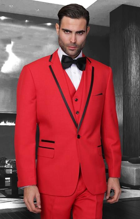 SKU#KA6478 Mens Red Black notch lapel Slim Fit 2 Pc Tuxedo Suit $225
