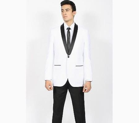 SKU#KA5287 Mens White Black Shawl Collar Slim Fit 2 Peice Tuxedo