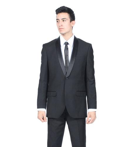 SKU#KA7866 Mens All Black Shawl Collar Slim Fit 2 Piece Tuxedo Suit