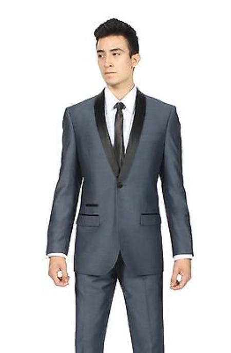Sku#KA6733 Midnight Navy Blue Shawl Collar Slim Fit 2 Piece Tuxedo Suit Black Lapel