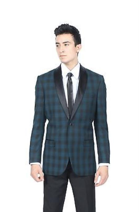 SKU#KA7874 Mens Teal Glen Plaid Slim Fit Shawl Tuxedo Blazer Sport Coat $175