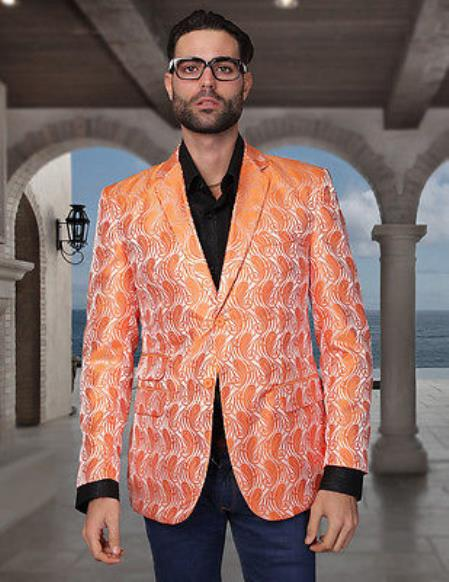 SKU#KA2897 Sequin Shiny Flashy Silky Satin Stage Fancy  Colored Party Dance Brand New Mens Orange Woven Pasiley Sport Coat / Blazer $225