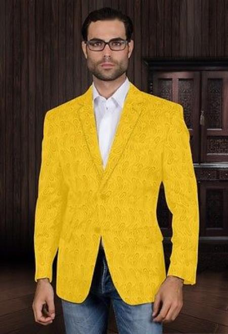 SKU#KA5781 Sequin Shiny Flashy Silky Satin Stage Fancy  Colored Party Dance Mens Yellow Fancy Woven Pasiley Sport Coat / Blazer $225