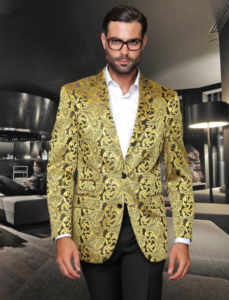 SKU#KA8890 Sequin Shiny Flashy Silky Satin Stage Fancy Colored Party Dance Mens Gold Fancy Woven Pasiley Sport Coat / Blazer $225