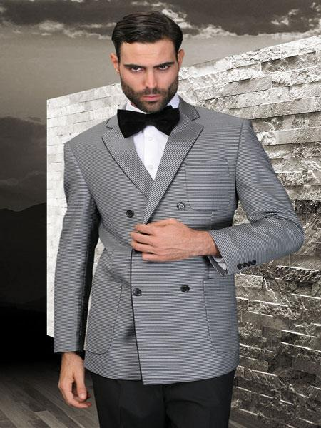 SKU#KA5637 Double Breasted Mens Gray Sport Coat With 2 Side Vent $175