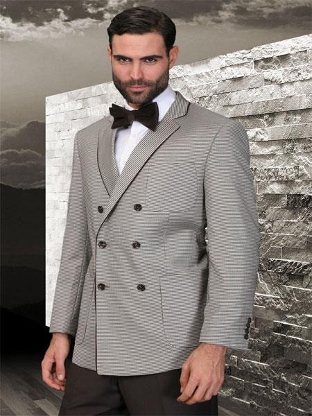 SKU#KA5987 Double Breasted Mens Tan Sport Coat With 2 Side Vent $175