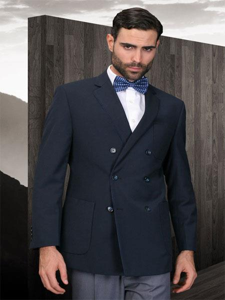 SKU#KA2012 Double Breasted Mens Solid Navy Sport Coat With 2 Side Vent   $175