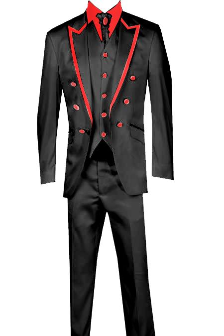 SKU#KA8965 3 Piece Jacket+Trouser+Waistcoat White/Black Trimming Tailcoat Tuxedos Suit/Jacket- Black/Red $599