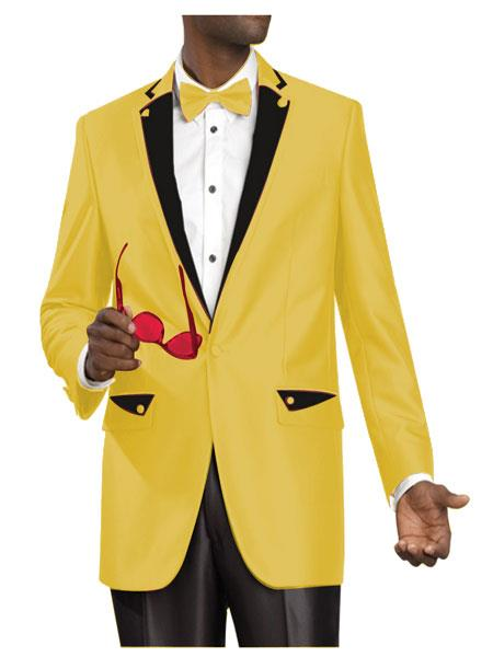 SKU#ED4 2 Two Button Side Vented Jacket Shiny Flashy Sharkskin Satin Metallic Suit or Tuxedo with Black Trim gold $595