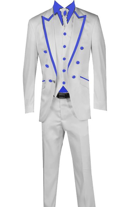 SKU#T41 3 Piece Blazer+Trouser+Waistcoat White/Black Trimming Tailcoat Tuxedos Suit/Jacket-NavyBlue $599