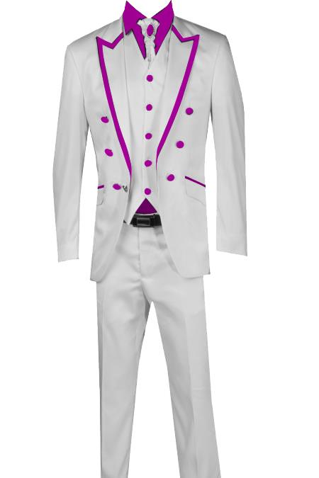 SKU#T41 3 Piece Blazer+Trouser+Waistcoat White/Black Trimming Tailcoat Tuxedos Suit/Jacket-Purple $599
