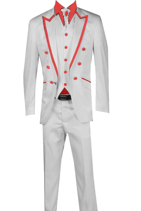 SKU#T41 3 Piece Blazer+Trouser+Waistcoat White/Black Trimming Tailcoat Tuxedos Suit/Jacket-Red $599