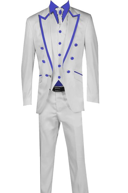 SKU#T4 3 Piece Blazer+Trouser+Waistcoat White/Black Trimming Tailcoat Tuxedos Suit/Jacket-RoyalBlue $599