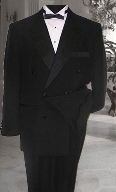 SKU#KA6639 Double Breasted Mens Black Tuxedo Super 150s French Cut $174
