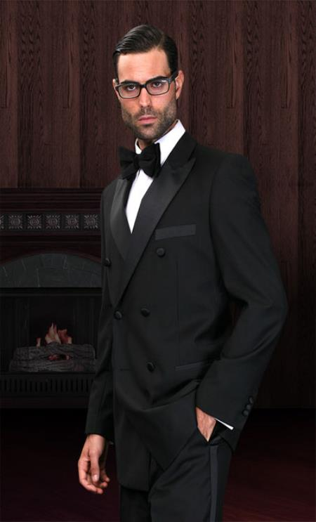 SKU#KA3139 Double Breasted Mens Black Tuxedo Super 150s French Cut $274