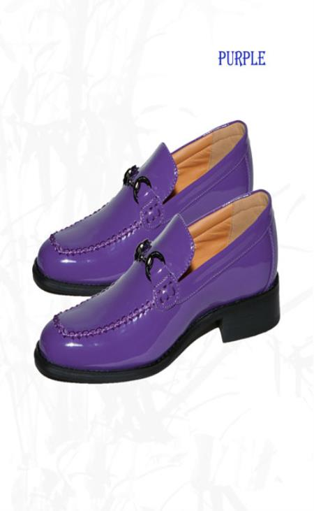 New Men's Shiny Classic Vintage Style Loafer Purple Shoe Dress Faux Leather