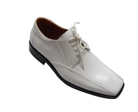 SKU#KA4109 Menss Fashion Oxford Faux Croc-Embossed Leather Dress Shoes White