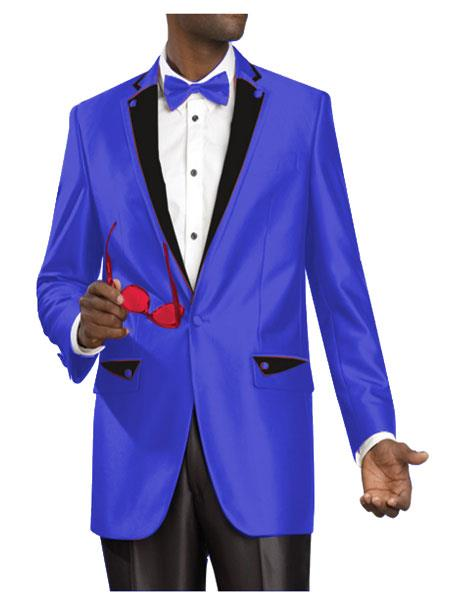 SKU#ED4 2 Two Button Side Vented Jacket Shiny Flashy Sharkskin Satin Metallic Suit or Tuxedo with Black Trim Royal-Blue $595