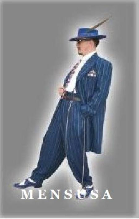 SKU# IO8180 Mens Vested Royal Blue Pinstripe Fashion Zoot Suit $179