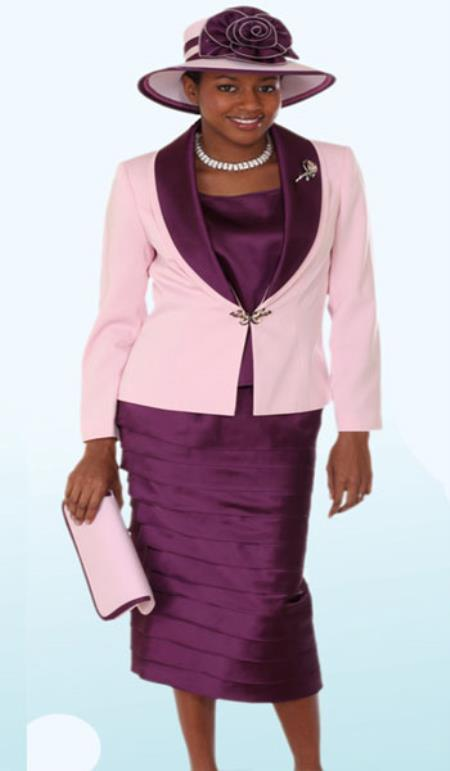 SKU#KA6104 Lynda Couture Promotional Ladies Suits- Purple With Pink $139