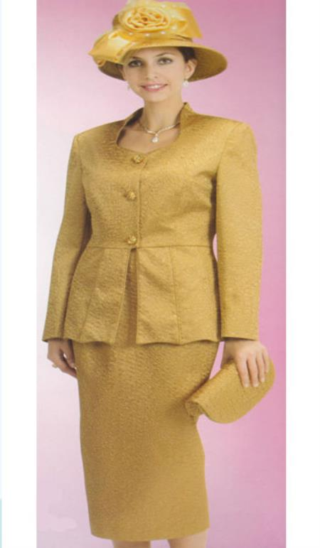 SKU#KA6109 Lynda Couture Promotional Ladies Suits- Gold $139
