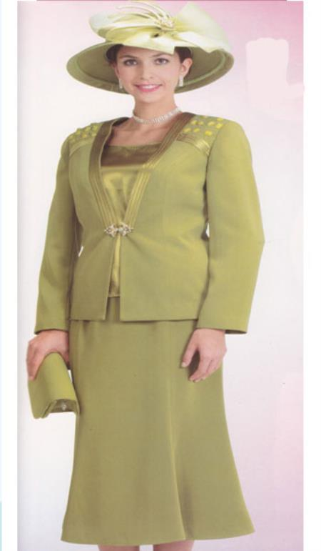 SKU#KA6110 Lynda Couture Promotional Ladies Suits- Olive $139